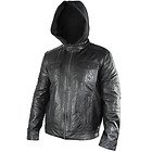 Xelement Mens Cafe Racer Black Casual Leather Jacket with Hoodie