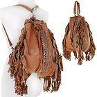 Womens Tan Leather Studded Fringe Backpack