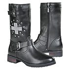 Xelement 'Stud Cross' Womens Leather Biker Boots