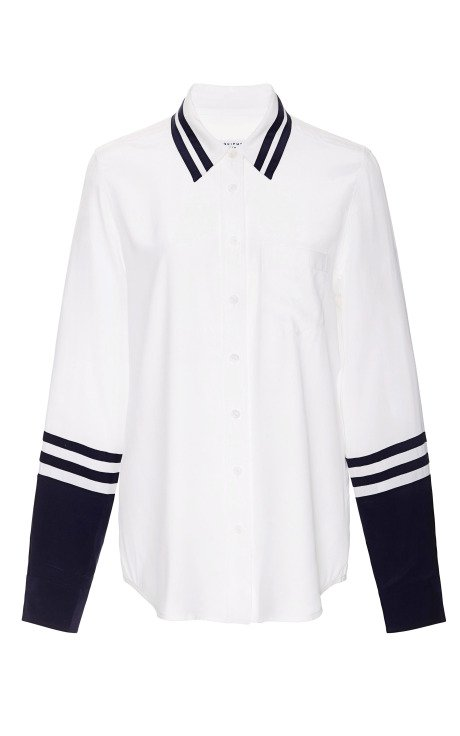 Solid Nautical Brett Shirt with Contrast Detail