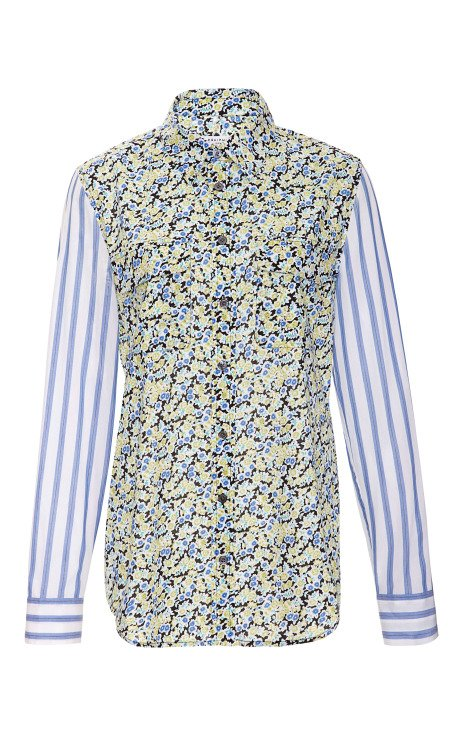 Surrounding Floral Cotton Lawn Slim Signature Shirt with Contrast Sleeves