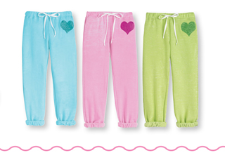 glitter heart sweatpants