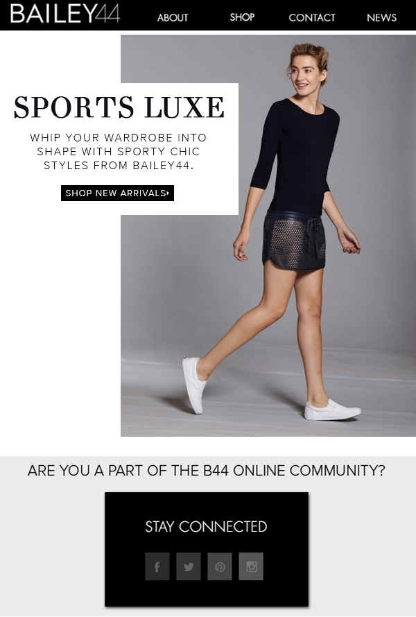 SPORTS LUXE SHOP ATHLETIC CHIC TRENDS FROM BAILEY44>