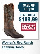 Womens Red Ranch Boots