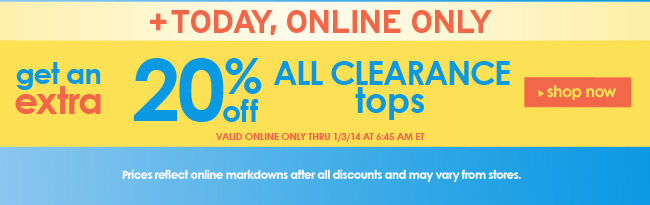 Extra 20% off clearance tops
