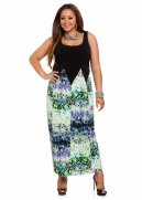 Abstract Border Print Maxi