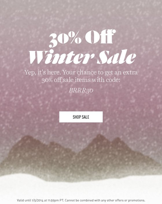 30% off Winter Sale