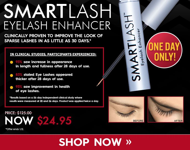 •100% saw an increase in the appearance of eyelash length, fullness and thickness after 30 days.•100% indicated a superior performance of this product when compared to previously used eyelash enhancement products.•100% said they feel like they need less mascara.*Results based on a 60-day independent clinical study with product application twice a day. Offer ends 1/2/14Price: $125.00 NOW $24.95 Save 80%Shop Now >>