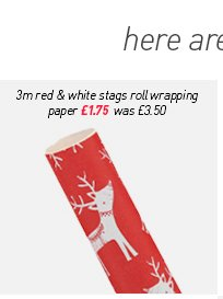 3m red & white stags roll wrapping paper