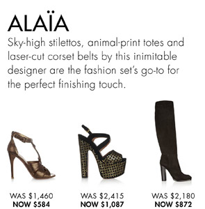 ALAIA.  Up to 60% off! SHOP NOW