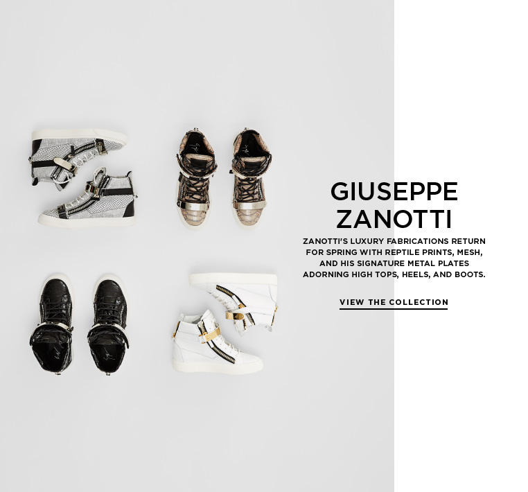 Snake, mesh, and metal from Giuseppe Zanotti Zanotti's luxury fabrications return for Spring with reptile prints, mesh, and his signature metal plates adorning high tops, heels, and boots.