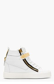 GIUSEPPE ZANOTTI White Leather Maylon High-Top Sneakers for women