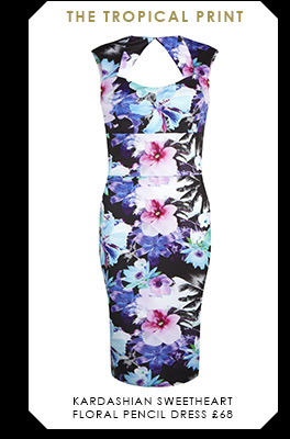 Kardashian Sweetheart Floral Pencil Dress