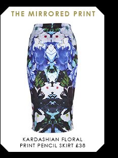 Kardashian Floral Print Pencil Skirt