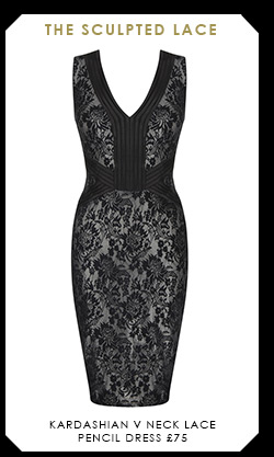 Kardashian V Neck Lace Pencil Dress