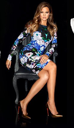 Kardashian Long Sleeve Floral Midi Dress