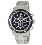 Invicta 1203 Men's Swiss Chronograph Stainless Steel Black Dial Watch