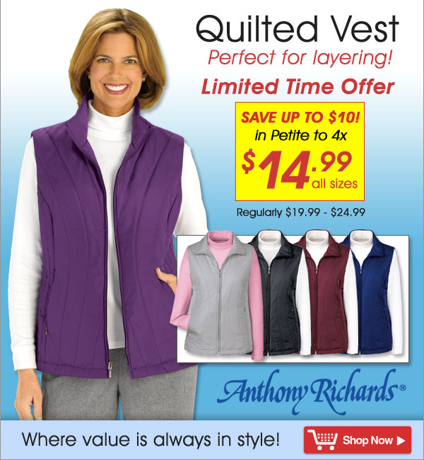 Quilted Vest - All Sizes $14.99 - Save up to $10 - Limited Time Offer - Shop Now >>