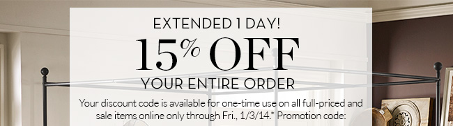 EXTENDED 1 DAY! 15% OFF