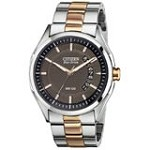 Citizen AW1146-55H Men's HTM 2.0 Drive Collection Gunmetal Perforated Dial Two Tone Bracelet Eco-Drive Watch