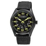 Citizen BV1085-14E Men's Eco-Drive Black Dial Black IP Steel Nylon Strap Watch
