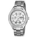 Citizen FD1060-55A Women's POV 2.0 Drive Collection Silver Dial Swarovski Crystal Eco-Drive Watch