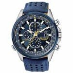 Citizen AT8020-03L Men's Blue Angels World Chronograph A-T Leather Strap Dive Watch