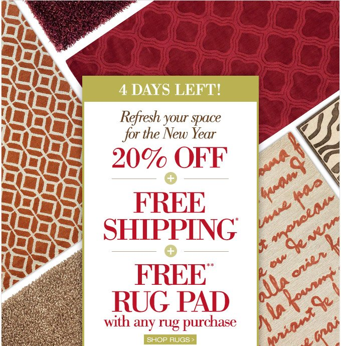 4 DAYS LEFT! Refresh your space for the New Year with 20% OFF + FREE SHIPPING + FREE RUG PAD with any rug purchase. Shop Rugs >