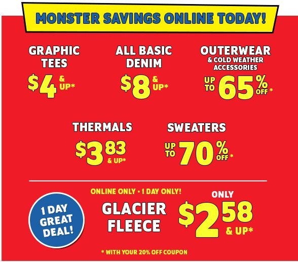 Monster Savings Online Today