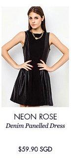 NEON ROSE Denim Panelled Dress