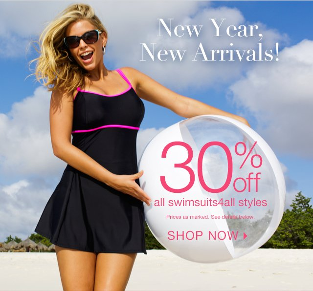 30% off new swimsuits4all arrivals!