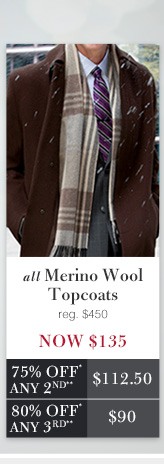 Merino Wool Topcoats - Now $135 USD