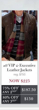 VIP & Executive Leather Jackets - Now $225 USD