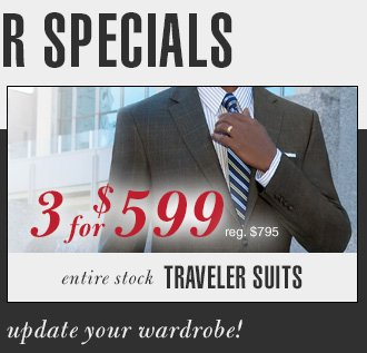 Traveler Suits - 3 for $599 USD