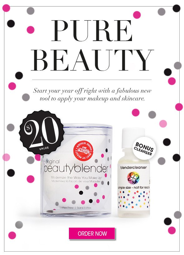 Pure Beauty  Start your year off right with a fabulous new tool to apply your makeup and skincare. $20 value