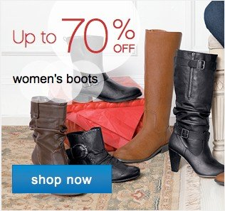 Up to 70% off women's boots. Shop now.