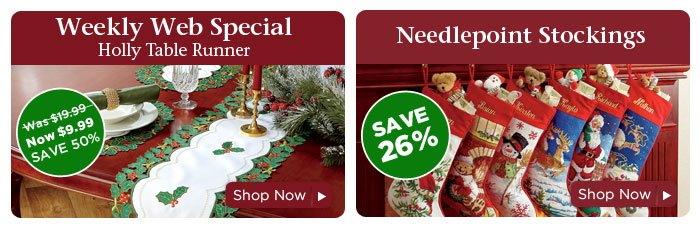 Weekly Web Special & Needlepoint Stockings