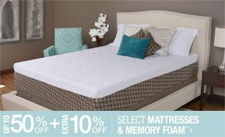 Up to 50% off + Extra 10% off Select Mattresses & Memory Foam**
