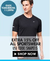 Up to 60% + extra 15% off all sportswear!