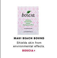 Maui Beach Bound. Shields skin from environmental effects. Boscia Self-Defense Vital Antioxidant Moisturizer SPF 30. BOSCIA.