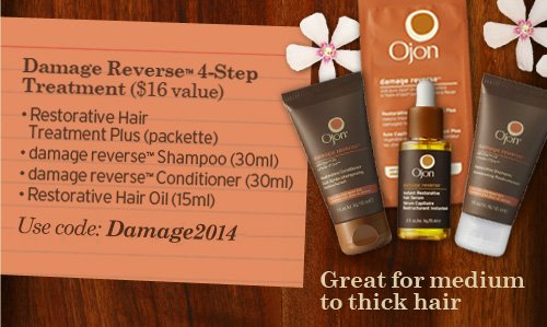 Damage Reverse 4 Step Treatment 16 dollars value restorative Hair  Treatment Plus Packette damage reverse Shampoo 30ml damage reverse  Conditioner 30ml Restorative Hair Oil 15ml Great for medium to thick  hair Use code Damage2014