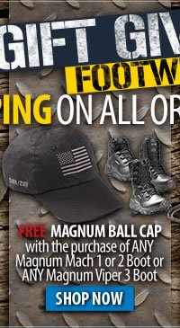Free Magnum Ball Cap with select Magnum boots + Free Shipping Over 99 dollars