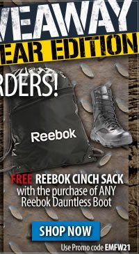 Free Reebok Cinch Sack with the purchase of any Dauntless boot + Free Shipping Over 99 dollars