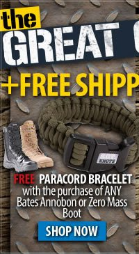 Free Paracord Bracelet with the purchase of Bates Annobon or Zero Mass boots + Free Shipping Over 99 dollars