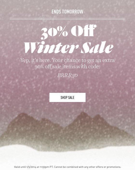30% off Winter Sale