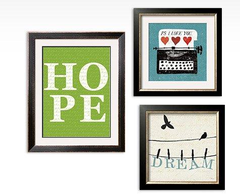 GREEN HOPE By: Avalism; VINTAGE DESKTOP: TYPEWRITER By: Michael Mullan; BIRD TALK IV art print