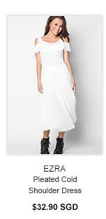 EZRA Pleated Cold Shoulder Dress