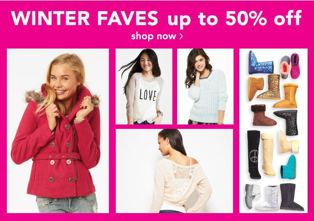WINTER FAVES up to 50% off