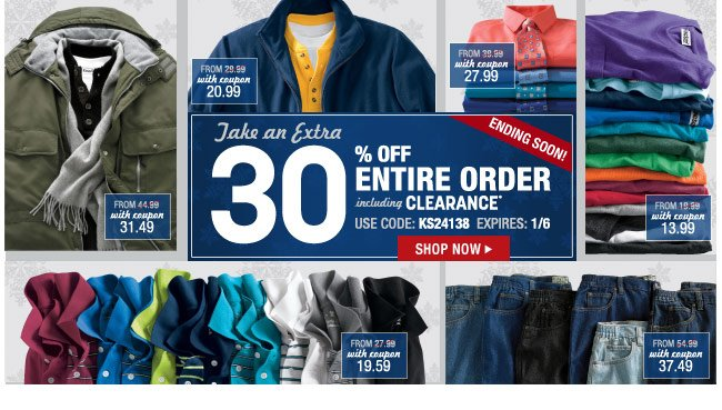 take an extra 30 percent off entire order including clearance* use code: KS24138 expires: 1/6 - click the link below