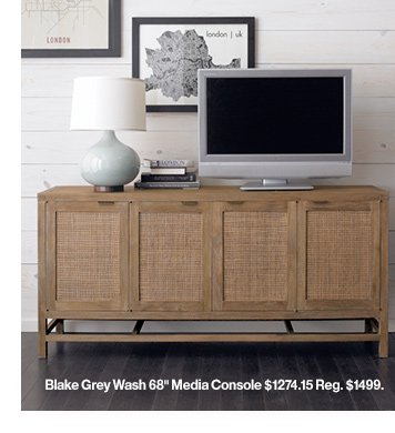 Blake Grey Wash 68in Media Console  $1274.15 Reg. $1499.